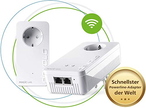 devolo Magic 2 Wifi AC Starter Kit dLAN 2.0: Ideal für Home Office und Streaming, Weltweit schnellstes Powerline-Starterkit für zuverlässiges WLAN ac einfach via Stromleitung, bis 2400 Mbit/s