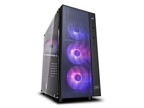 DEEP COOL Matrexx 55 Mesh ADD-RGB 4F, ATX PC Gehäuse, 4 x 120mm ARGB Lüfters, 4 mm-Dualhartglasscheiben, mit Netzteil-Kontaktschutz
